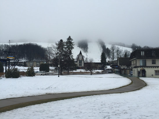 Boyne Mountain Resort - Very soft and spring like in the morning. Spotty coverage on many trails. Started snowing hard around seven. Going to be nice in the morning. We saw Big Foot's lean-to out there. Keep your eyes open.   - ©E