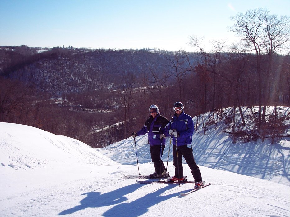 A pair of skiers at Welch VIllage, MN.