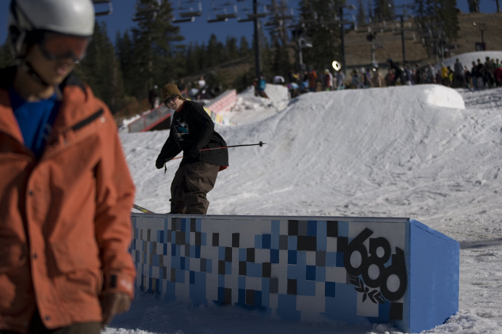 Young skiers at Boreal's terrain park.