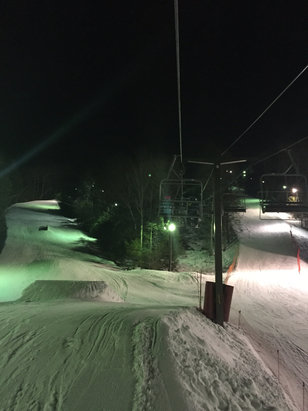 Ski Sundown - Warmed up nicely to mid 40s on Tue 1.26.16 and the snow turned soft. Best night of the season.  - ©Night ski at Sundown