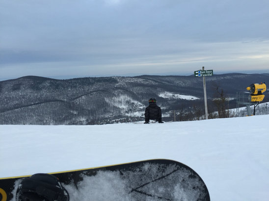 Whitetail Resort - Granular stuff!  Icy underneath. Small lines on the lifts. All in all, good day.  - ©PJ Work iPhone (2)