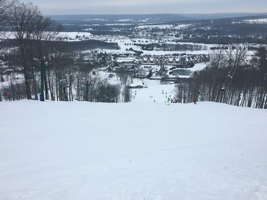 Boyne Mountain Resort - Sunday 2/7, morning conditions very nice groomers. Warm temps softened it all up like spring mush by early afternoon. Steeper runs still closed, guess due to low snow year.  - ©AP Ski Team