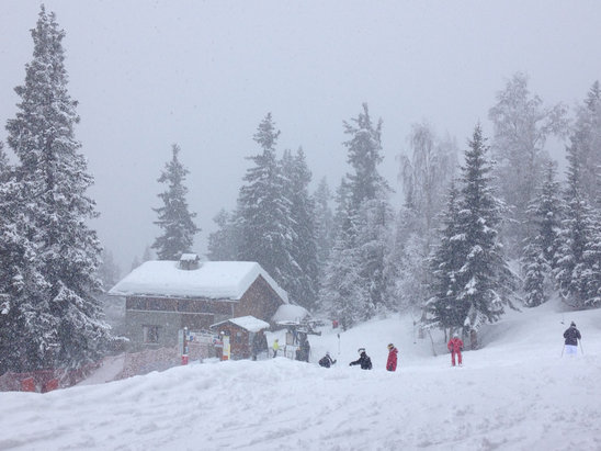 La Rosière 1850 - Packed powder, poor viz but dumping! Roll on tomorrow! - ©Bruce Quilter's iPhone