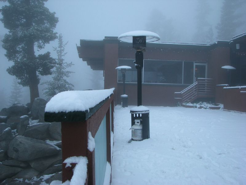 A snowstorm covers a lodge at Heavenly Mountain Resort in South Lake Tahoe, California