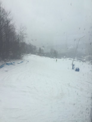 Okemo Mountain Resort - Wet day today...nothing open to the top due to the high winds...but the snow is ok and obviously nobody around! - ©Canuck13