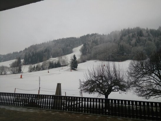 Morzine - new snow over night, looking slightly foggy from Hotel L'Aubregade this morning.   - ©anonymous user