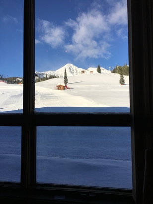 Big Sky Resort - Breakfast view, filled with excitement 4 inches of pow pow - ©Justin