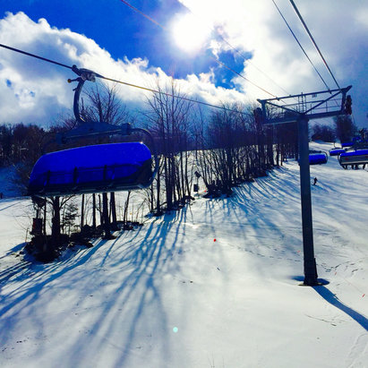 Mount Snow - Rain in the morning.  Sun was shining in the afternoon.  Spring conditions, but fun. - ©Sandy's iPhone