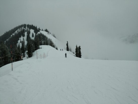 Stevens Pass Resort - pretty slushy at the bottom from the rain. few inches of fresh snow at the top made the day perfect.  - ©MK
