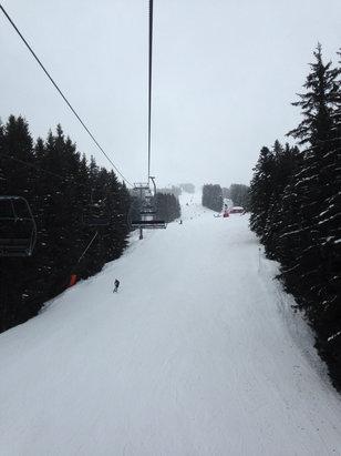 Les Carroz - Packed powder, intermittent rain / sleet / snow - ©Tom Hewitt