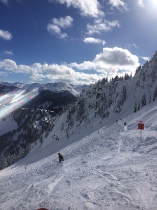 Stevens Pass Resort - Blessed with a rare blue bird sky day here at Stevens pass after a dump of a foot plus . A bit on the heavy side but still  sweet  - ©jolly jon
