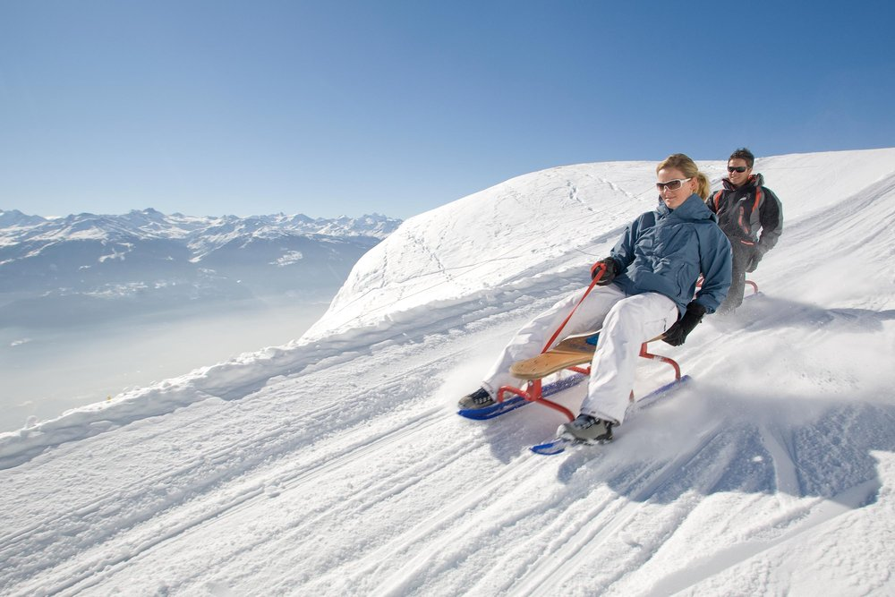 Sledding at Crans Montana, SUI.