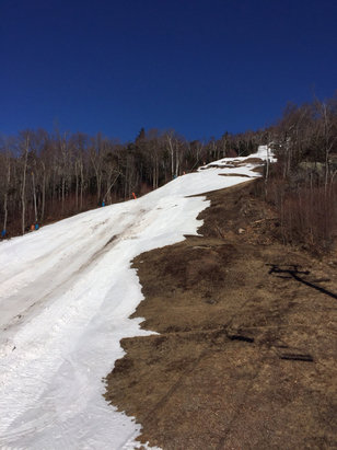 Okemo Mountain Resort - The website claims topridge isn't done? Picture taken today says otherwise.  Only trails with remaining edge to edge coverage are most of Hawkeye, lies, quicksilver, and twister. Everything else has significant dirt showing.  They did a great job this year with the weather, but it's done.  - ©anonymous user