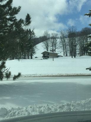 Boyne Mountain Resort - Fresh snow! Yes snow!!!  7 runs open. Started powder & machine groomed. Ended soft packed.  - ©Scott's iPhone
