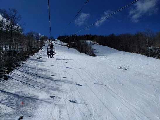 Whiteface Mountain Resort - Never been so happy for a bad forecast. Warned up nicely Saturday. Lower mountain mush, upper mountain nice with some ice underneath. The summit was closed Saturday. Get it while you can! - ©CNY Skier