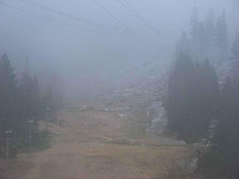 Snow starts to hit the ground at Heavenly Mountain Resort in South Lake Tahoe, California