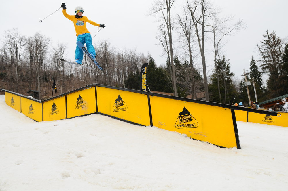 Skier at terrain park of Seven Springs PA