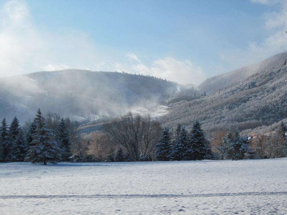 Snowmaking at Park City Mountain Resort, UT.