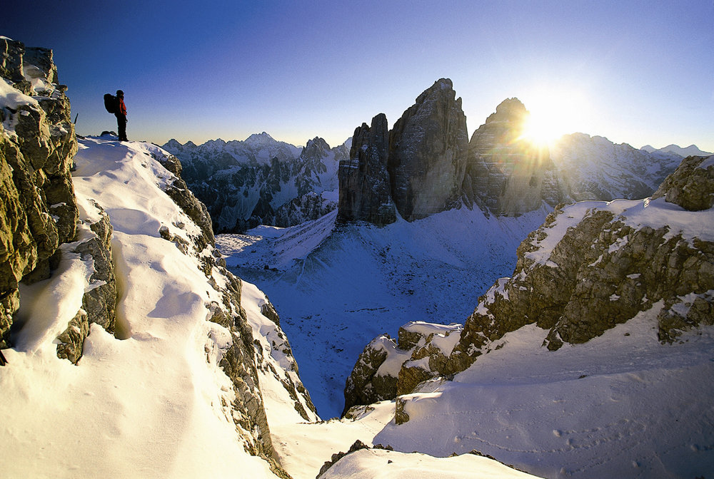 Hiker at Le Tre Cime, Hochpustertal/Pusteria, Italy.
