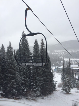 Winter Park Resort - Some powder on top of ice, more fun as the snow falls, still pretty chatty in high-traffic areas. Not bad for early season with so little snow - ©David's iPhone