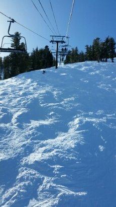 Kirkwood - Snow is good on difficult runs and off of difficult lifts. Take Wagon Wheel up, ski down to Chair 2, and ski the back of the mountain, Chair 4. Based off of reports from friends, Kirkwood is the best place in terms of snow in Tahoe right now. This report is for 12-26. - ©anonymous
