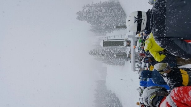 Mammoth Mountain Ski Area - Unreal today... Over the shoulder blower pow. 28
