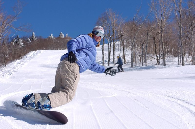 A snowboarder at Bromley, VT.
