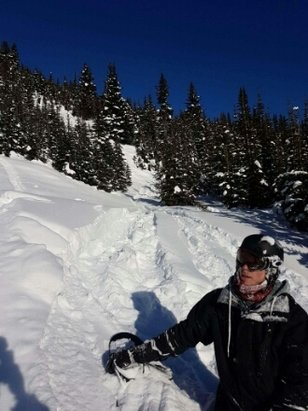Lake Louise - We were there on Saturday, apparently it hadn't snowed in couple days but we found a whole face of the mountain with 2 feet of powder. I almost choked and drowned in powder, true story.  - ©anonymous