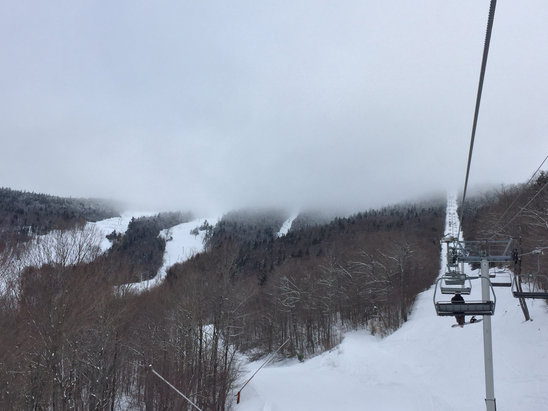 Sunday River - Skiing in the clouds at Jordan/Oz, but below them everywhere else. Great snow, no lines (even for a Friday), and wonderful grooming as always. Bravo Sunday River. - ©Andy's iPhone (2)