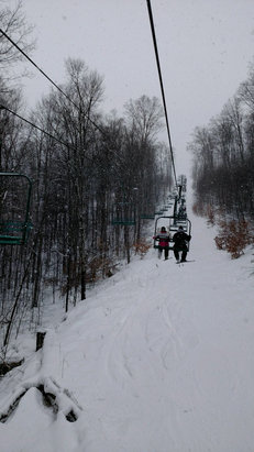 Boyne Mountain Resort - Soft stuff on the sides and in the trees. Hard pack with a little fresh snow on the slopes.  - ©Scott's iPhone