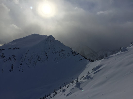 Kicking Horse - Come out the golden express and hike along the ridge to terminator peak, sunny side of the south ridge had good powder, it's quite exposed.   - ©iPhone