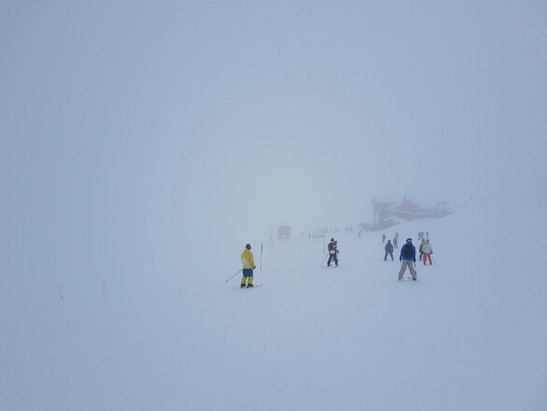 Courchevel - It's snowing, but not heavily. Visibility is poor, but will improve towards the weekend. Pistes are OK, still some off piste left, but needs better visibility.  - ©dearsina