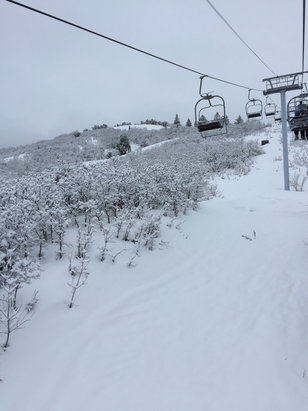 Park City - Pretty good recovery after 2 days of rain. Creamy snow (nearly powder) on top and hard underneath. Good first tracks in  am  - ©Kent IPhone