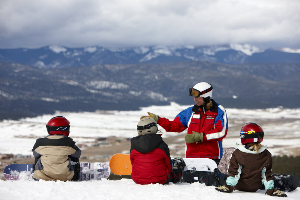 Children's snowboard lesson at Angel Fire, NM. Photo by Chris McClennan.