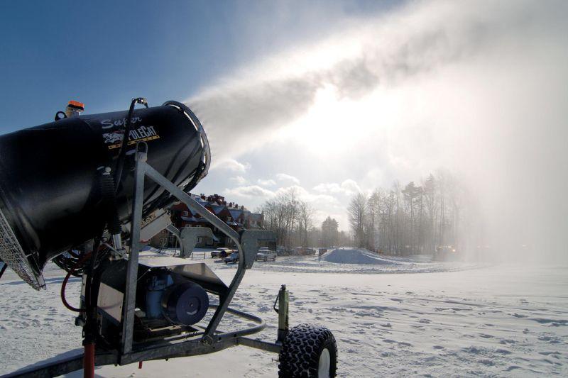 A snowmaking gun at Mt Snow, VT.