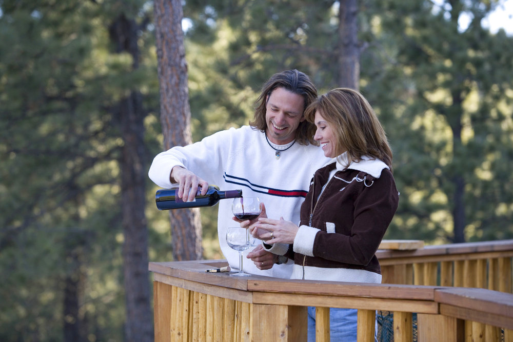 Couple on Deck at Angel Fire. Photo by Jack Affleck.