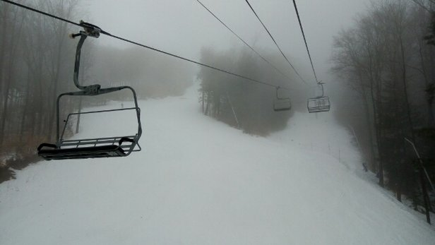 Loon Mountain - Fog in the morning,  peek of sun in the afternoon.  Spring conditions.  Not busy which i was surprised. Like skiing on a weekday.  Amazing.  - ©markyanofsky