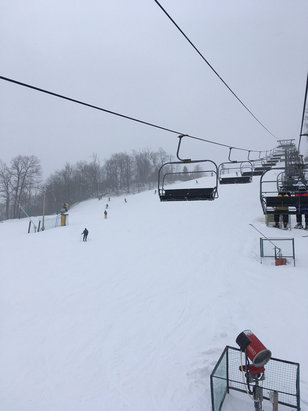 Roundtop Mountain Resort - Prepared today.   Left some trails ungroomed.    Top of ramrod got scraped clean.   Plenty of snow everywhere else.    - ©stefan's iPhone