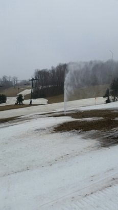 Seven Springs - foggy and windy this morning mostly soft snow, some hard packed.  New water feature on north face  - ©plggiant