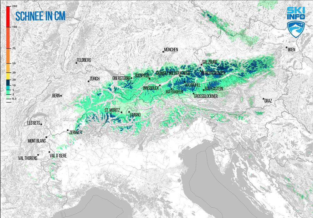 Schneevorhersage für Alpenraum vom 21.04.2017 (6:30 Uhr) für die nächsten 96 Stunden - ©[c] ZAMG / Skiinfo
