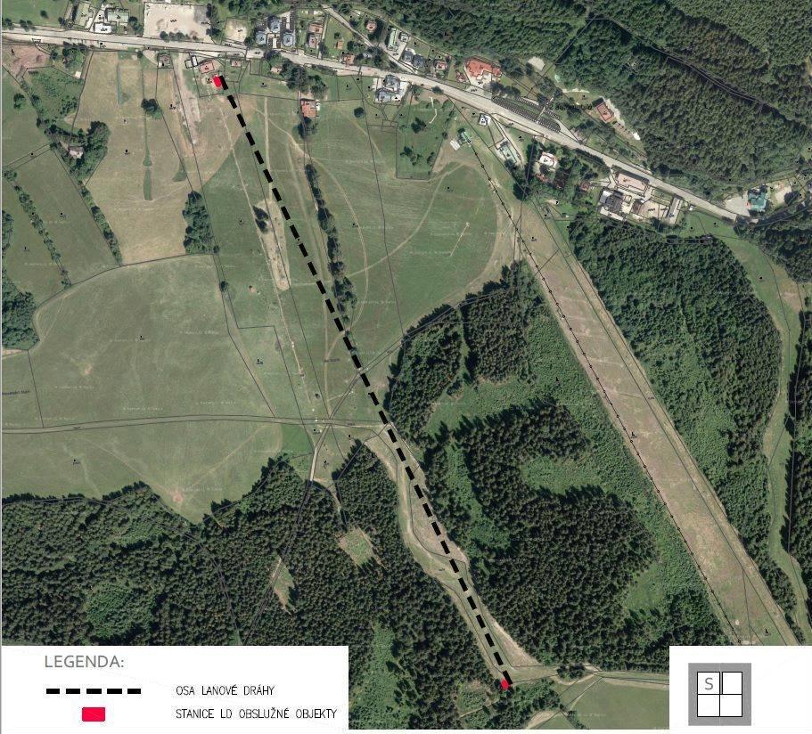 Zakreslení trasy nové 4-sedačky Garaventa v areálu Marta II do satelitní mapy Google - ©Skicentrum Deštné v Orlických horách
