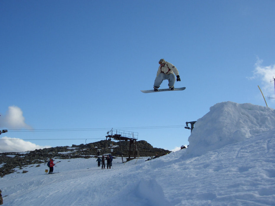 Snowboard jumper at Glencoe (Glencoe Mountain Ltd)