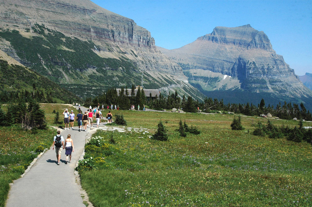 Hikers at Logan Pass, Whitefish, MT.