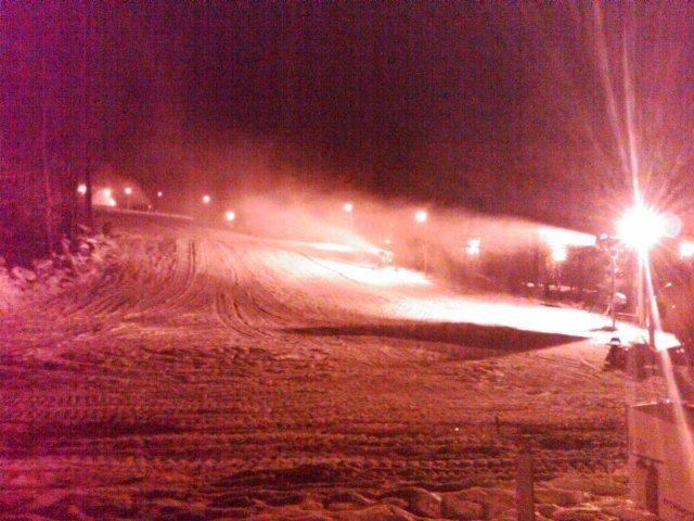 Snowmaking overnight at Tuxedo Ridge, NY.