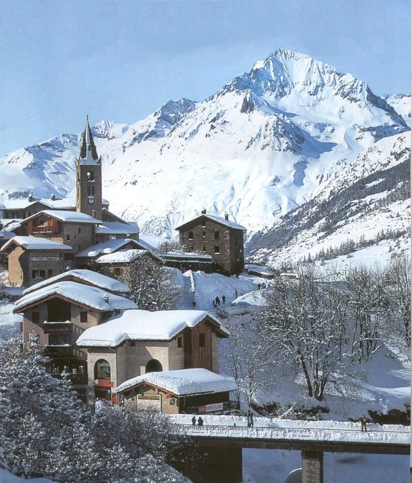The village of Val Cenis, France in winter.