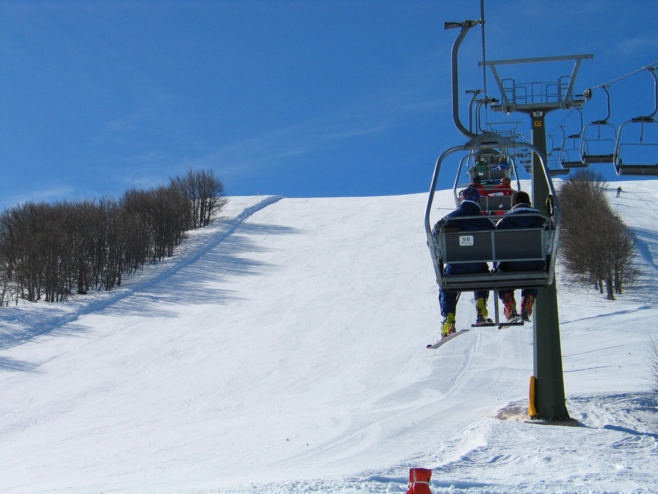 Headed up the chairlift at Campo Felice, Italy.
