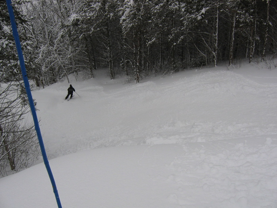 A lone skier at Mt Kato, MN.