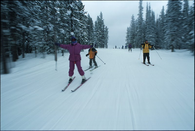 Group of skiers receiving instruction at Lost Trail, Montana.