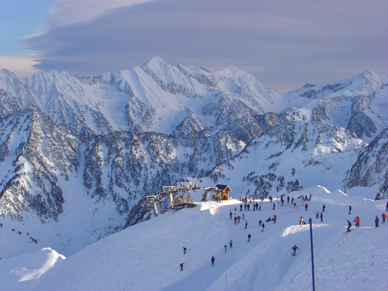 Aerial view of skiers at Cauterets, France