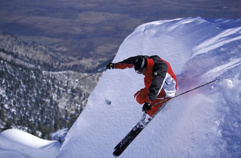 A skier at Heavenly Mountain Resort in South Lake Tahoe, California gets some air